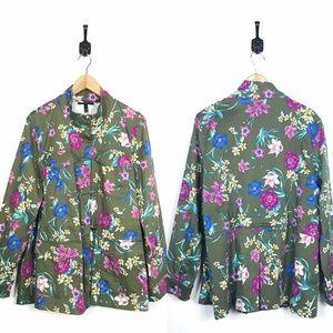 Lane Bryant Plus 18-20 Olive Green Floral Jacket